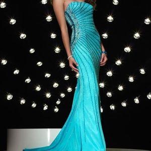 Alyce Designs #8887 Dress Blue Size 2 Prom NEW